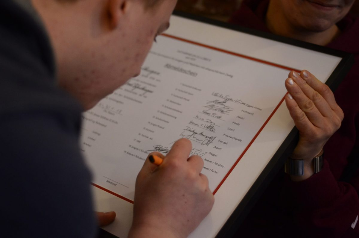 Unterschrift des ältesten Schülers