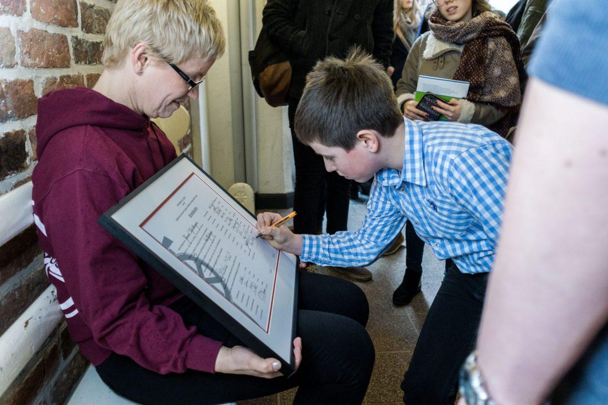 Unterschrift des jüngsten Schülers