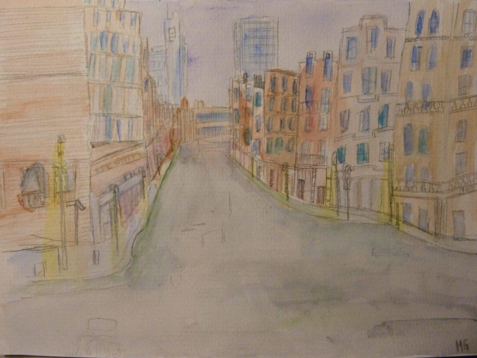 Marlene Grundey, 'Leere Straßen', Bleistift-Aquarell, 11.Kl.