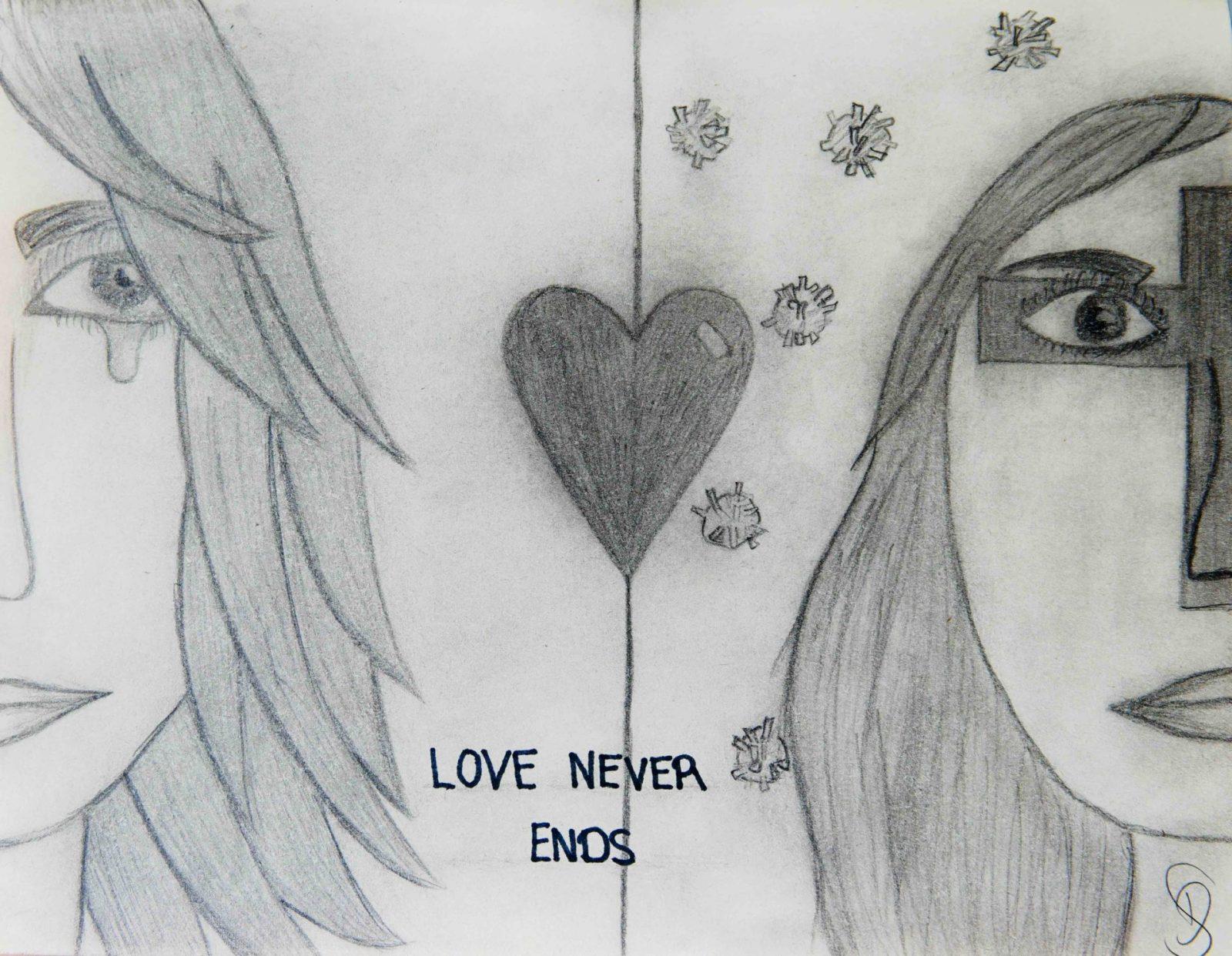 David Silberbach, Bleistiftzeichnung 'love never ends', 7.Kl.